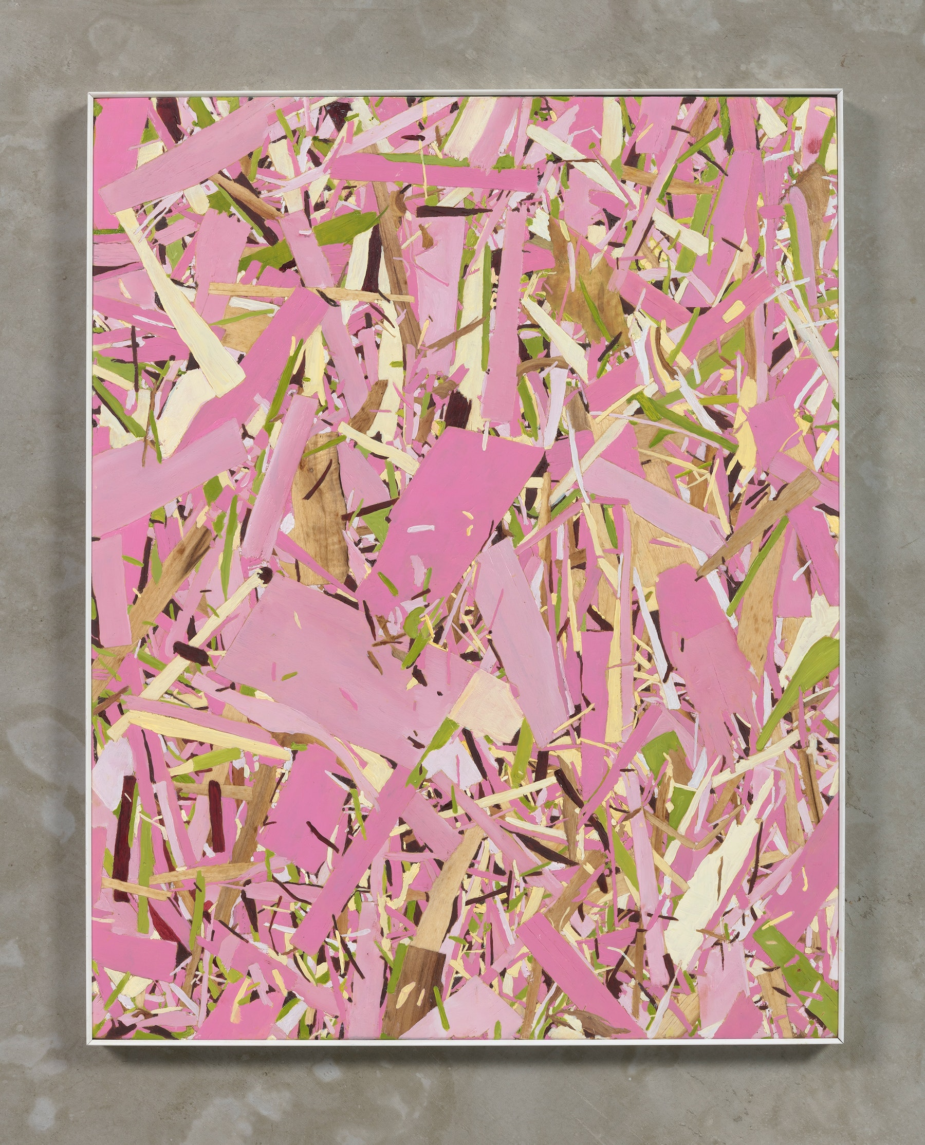 "Kim Dingle ""Home Depot Coloring book, pink, (anyone can do it),"" 2018 Oil on osb board 24 x 19"" [HxW] (60.96 x 48.26 cm) Inventory #DIN243 Courtesy of the artist and Vielmetter Los Angeles Photo credit: Robert Wedemeyer"