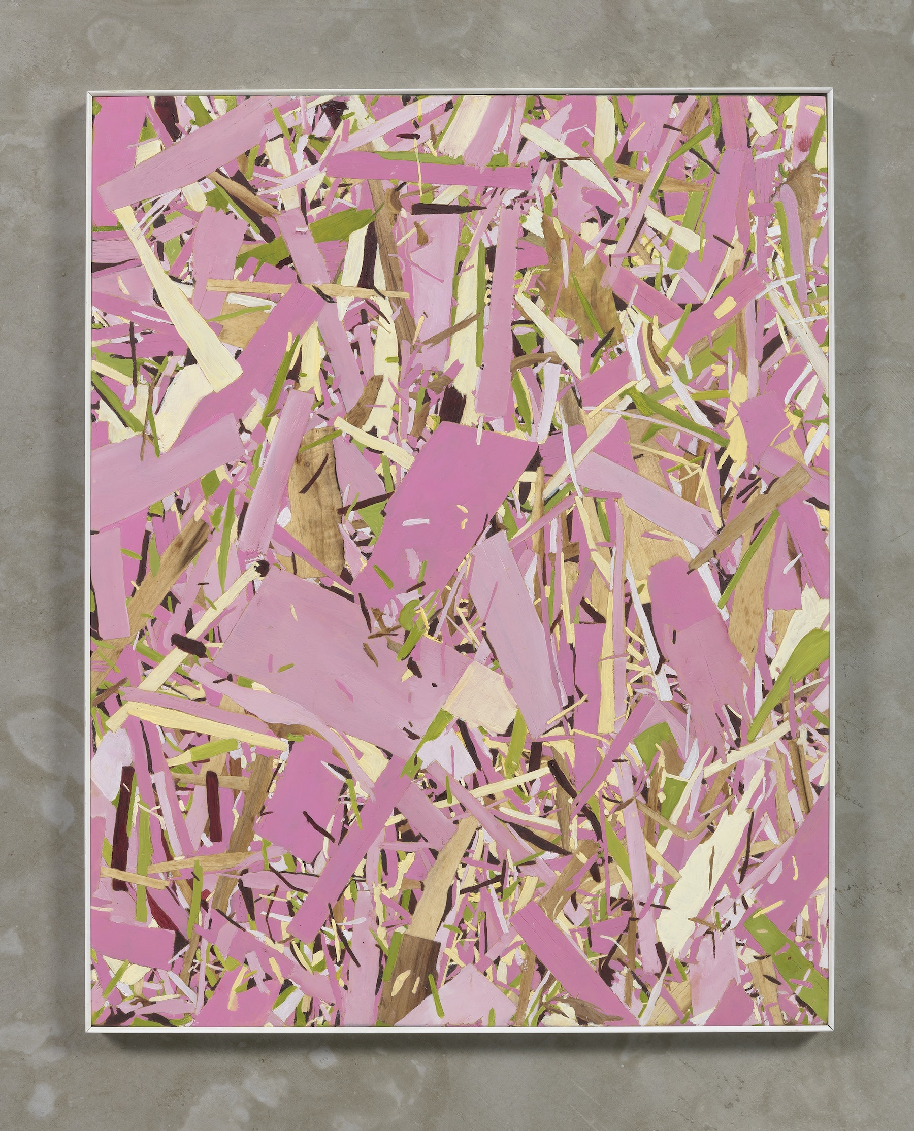 """Kim Dingle """"Home Depot Coloring book, pink, (anyone can do it),"""" 2018 Oil on osb board 24 x 19"""" [HxW] (60.96 x 48.26 cm) Inventory #DIN243 Courtesy of the artist and Vielmetter Los Angeles Photo credit: Robert Wedemeyer"""