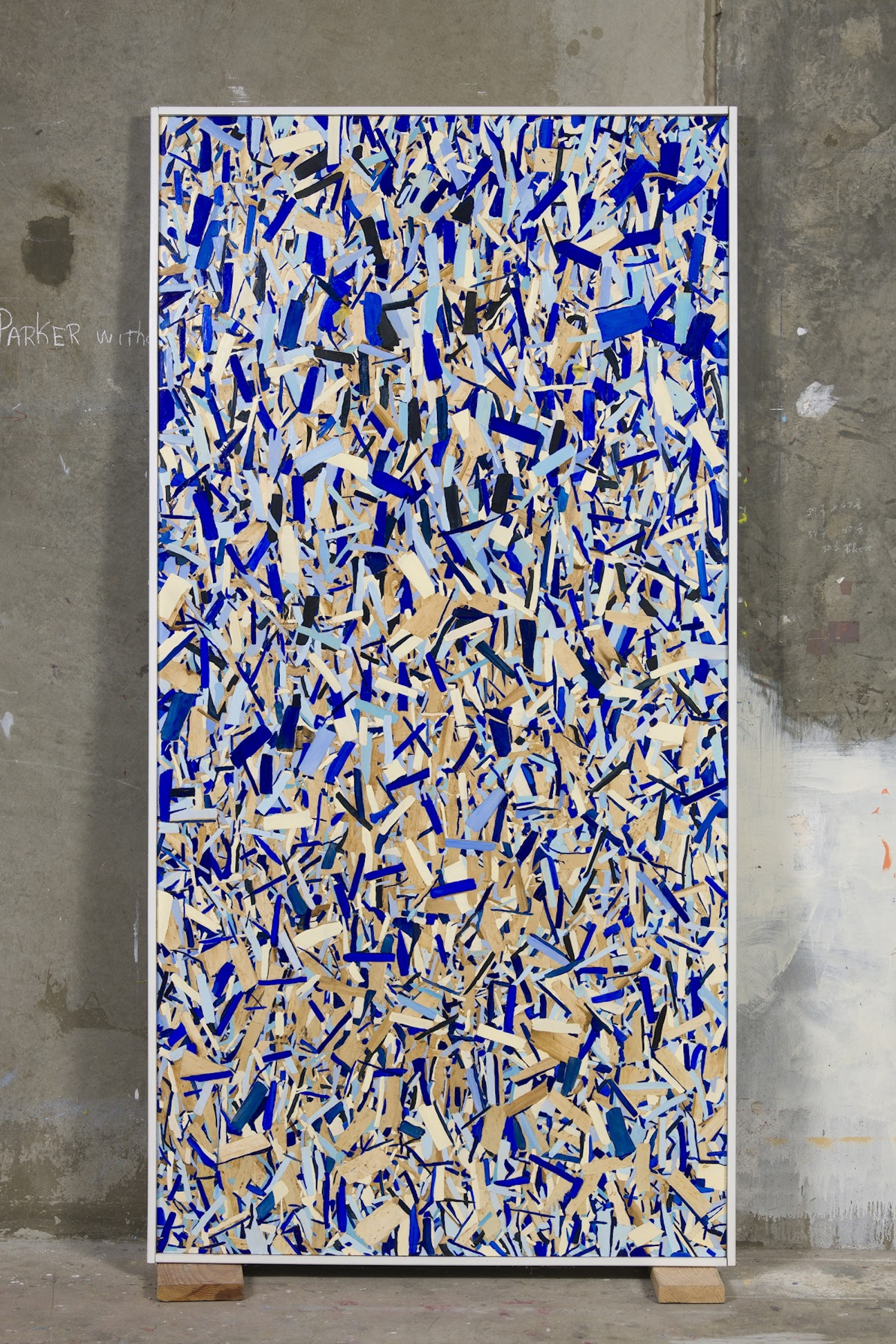 """Kim Dingle """"HOME DEPOT COLORING BOOK (rain),"""" 2017 Oil on OSB with artist's frame 97.75 x 49.5 x 2.5"""" [HxWxD] (248.29 x 125.73 x 6.35 cm) Inventory #DIN189 Courtesy of the artist and Vielmetter Los Angeles Photo credit: Robert Wedemeyer"""