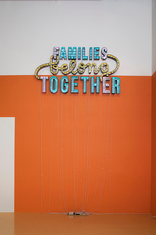 This is an artwork titled Families Belong Together by artist Andrea Bowers made in 2018