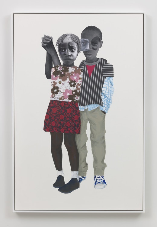 This is an artwork titled Our destinies are bound by artist Deborah Roberts made in 2018