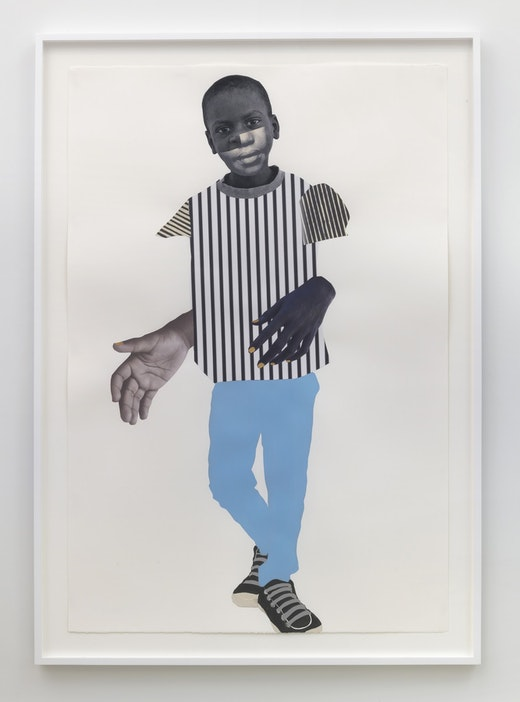 This is an artwork titled On Paused by artist Deborah Roberts made in 2019