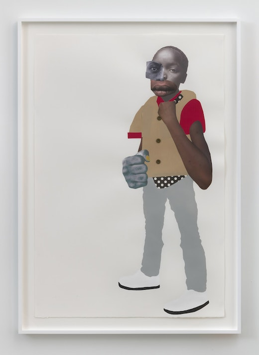 This is an artwork titled The sky is open by artist Deborah Roberts made in 2019
