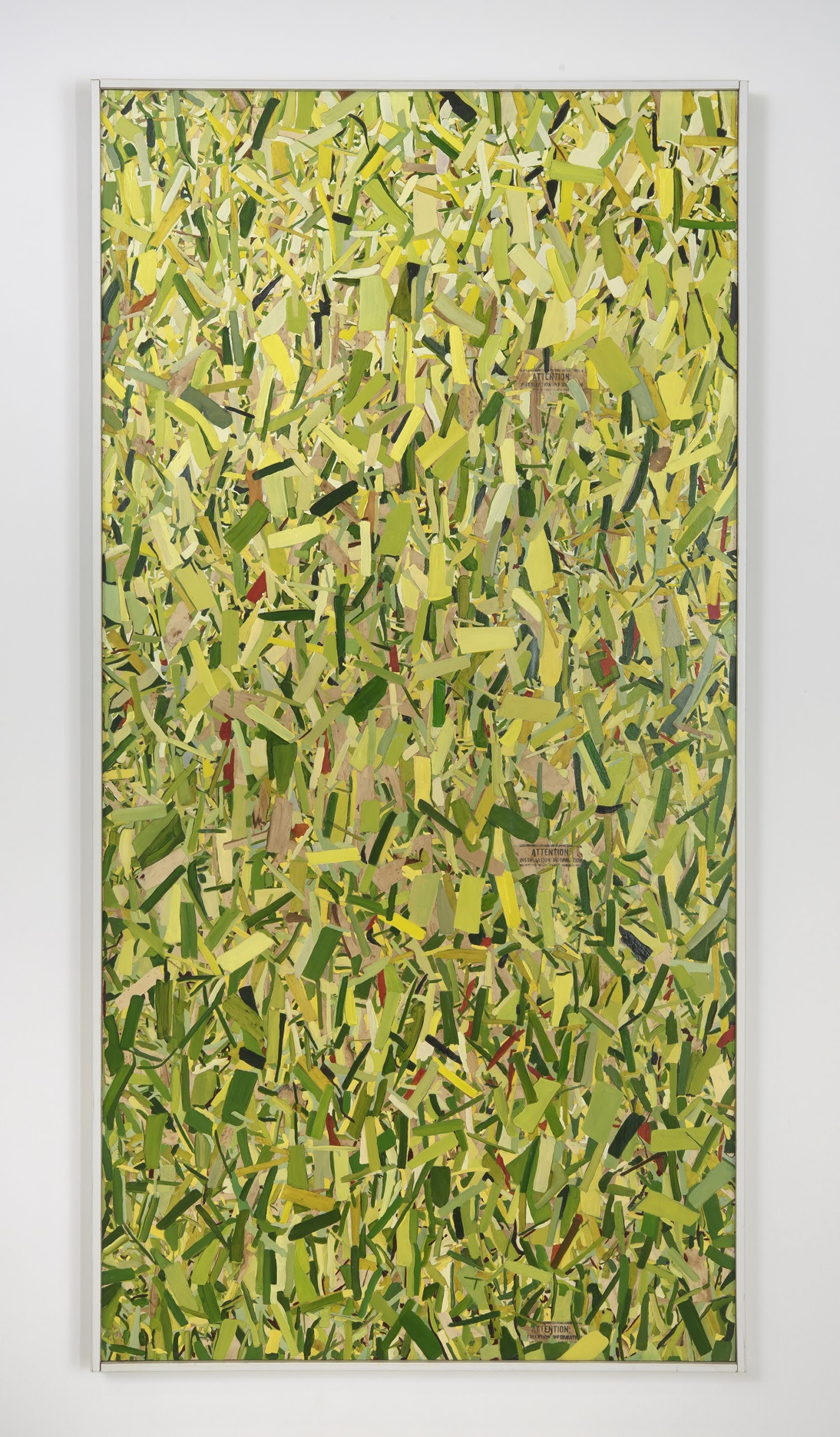 """Kim Dingle """"HOME DEPOT COLORING BOOK (leaves),"""" 2017 Oil on OSB with artist's frame 97.75 x 49.5 x 2.5"""" [HxWxD] (248.29 x 125.73 x 6.35 cm) Inventory #DIN190 Courtesy of the artist and Vielmetter Los Angeles Photo credit: Robert Wedemeyer"""