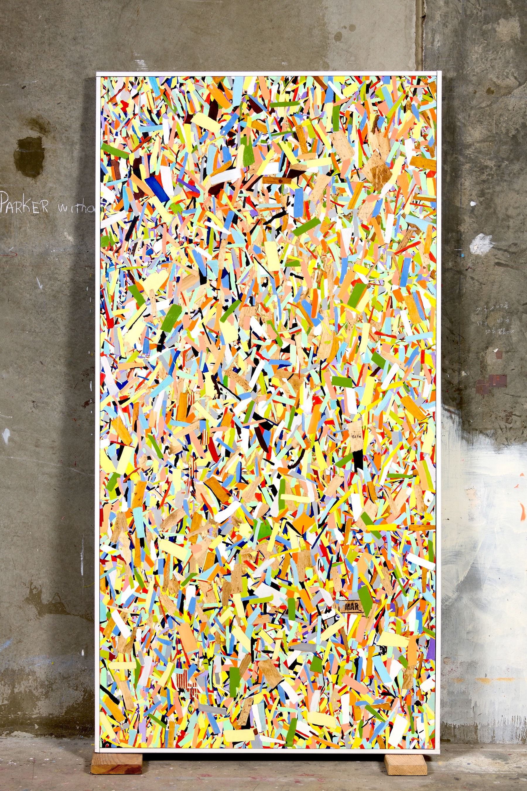"""Kim Dingle """"HOME DEPOT COLORING BOOK (flowers)"""", 2017 Oil on OSB with artist's frame 97.75 x 49.5 x 2.5"""" [HxWxD] (248.29 x 125.73 x 6.35 cm) Inventory #DIN188 Courtesy of the artist and Vielmetter Los Angeles Photo credit: Robert Wedemeyer"""