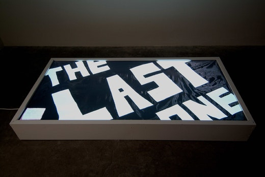 """This is an artwork titled """"The Last One Lightbox by artist Andrea Bowers made in 2007"""