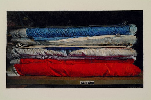 This is an artwork titled Still Life of The AIDS Memorial Quilt in Storage (Blocks 4336-4340) by artist Andrea Bowers made in 2007