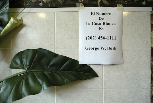 This is an artwork titled El Numero de la Casa Blanca by artist Andrea Bowers made in 2007
