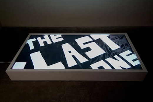 This is an artwork titled The Last One Lightbox by artist Andrea Bowers made in 2007