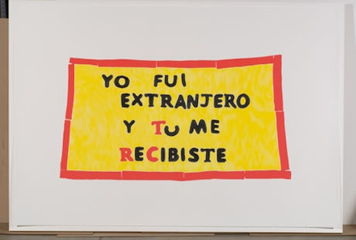 This is an artwork titled Church Banners (Adalberto United Methodist Church, Chicago, Part of New Sanctuary Movement); #1 of 2 by artist Andrea Bowers made in 2007
