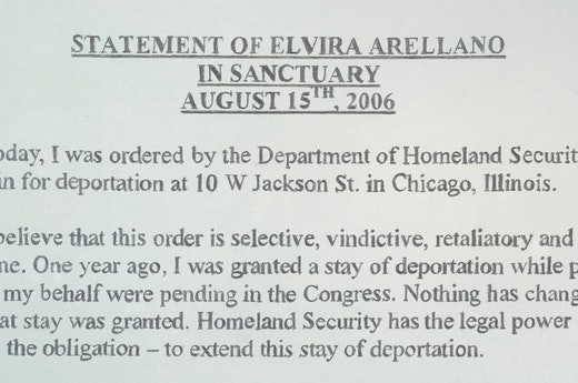 This is an artwork titled Nonviolent Civil Disobedience Drawings (Statement of Elvira Arellano in Sanctuary August 15, 2006) by artist Andrea Bowers made in 2008