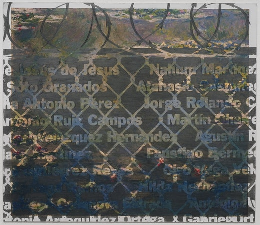 This is an artwork titled Names of Immigrant Deaths on Monet Invitation Card, Gagosian Los Angeles by artist Andrea Bowers made in 2010