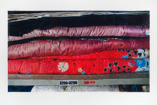 This is an artwork titled Still Life of The AIDS Memorial Quilt in Storage (Blocks 3286-3290) by artist Andrea Bowers made in 2007