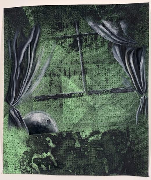 This is an artwork titled Moon creeping through window by artist Edgar Arceneaux made in 2008