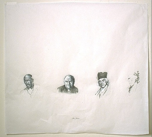 This is an artwork titled Four Fathers by artist Edgar Arceneaux made in 2002
