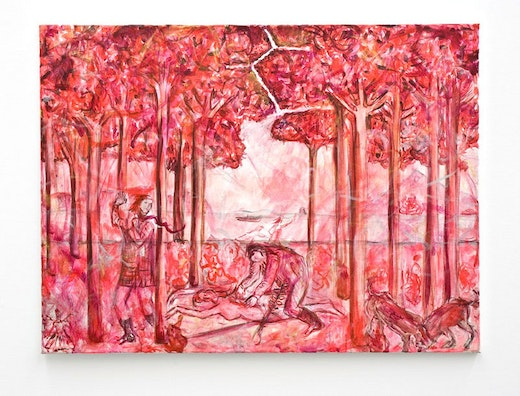 This is an artwork titled Leibhaftige Malerei (red version) by artist Jutta Koether made in 2007