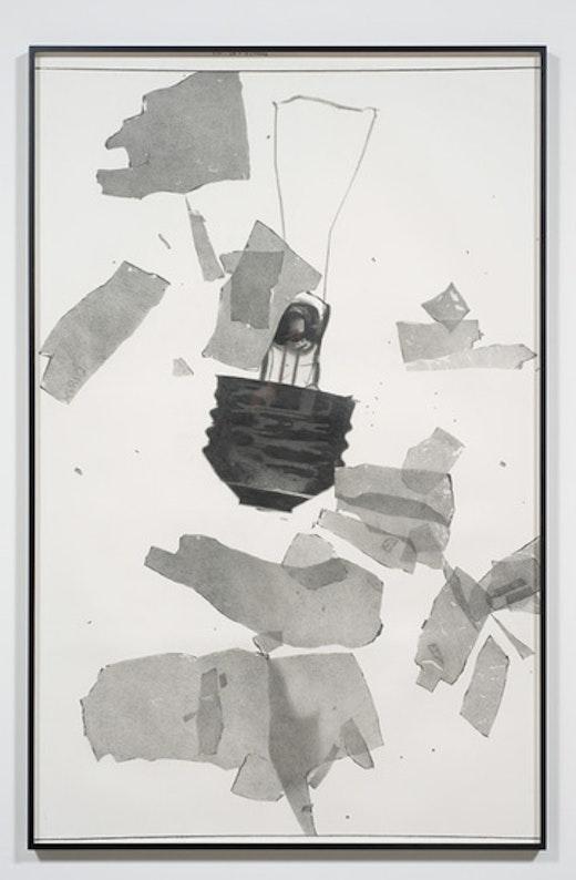 This is an artwork titled Beach Blanket Blues - Broken Bulb #2 by artist Karl Haendel made in 2009