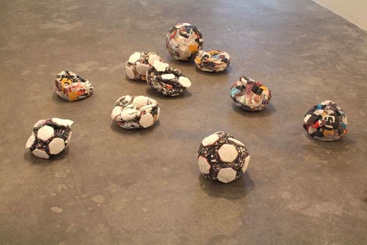 This is an artwork titled Untitled (Crushed Soccer Balls) by artist Mark Bradford made in 2004