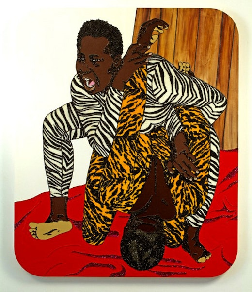 This is an artwork titled It Hurts So Good! (Brawlin' Spitfire Two) by artist Mickalene Thomas made in 2007