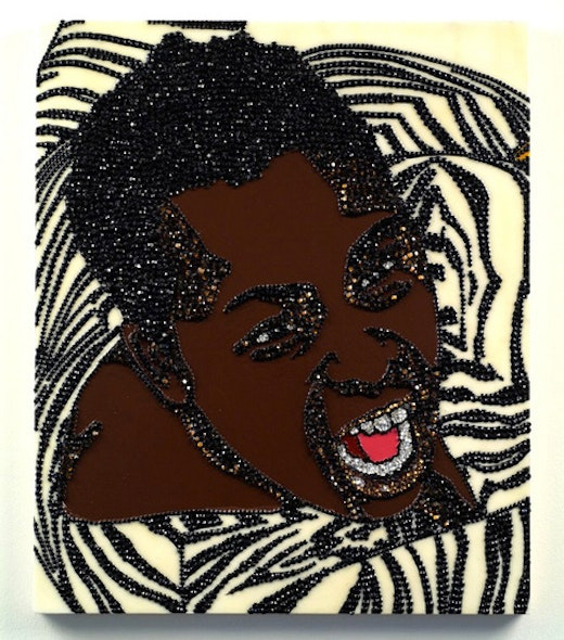 This is an artwork titled Portrait of Wrestler #8 (Brawlin' Spitfire Two) by artist Mickalene Thomas made in 2007