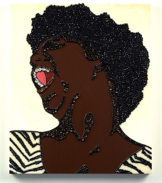 This is an artwork titled Portrait of Wrestler #6 (Brawlin' Spitfire Two) by artist Mickalene Thomas made in 2007