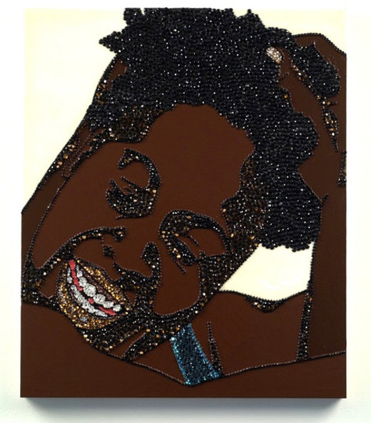This is an artwork titled Portrait of Wrestler #9 (Brawlin' Spitfire Two) by artist Mickalene Thomas made in 2007