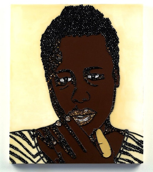 This is an artwork titled Portrait of Wrestler #1 (Brawlin' Spitfire Two) by artist Mickalene Thomas made in 2007