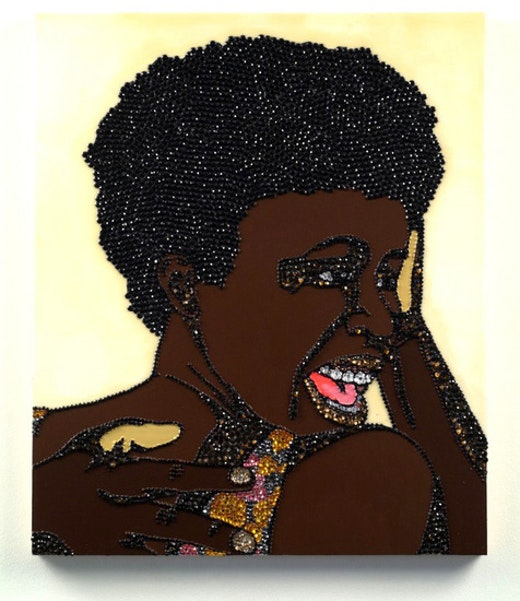 This is an artwork titled Portrait of Wrestler #5 (Brawlin' Spitfire Two) by artist Mickalene Thomas made in 2007