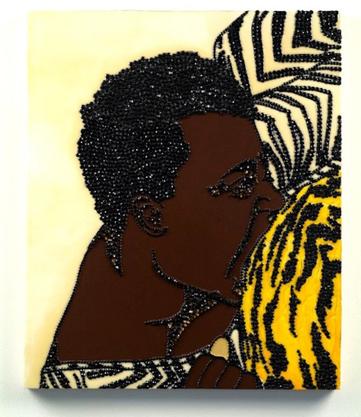 This is an artwork titled Portrait of Wrestler #3 (Brawlin' Spitfire Two) by artist Mickalene Thomas made in 2007