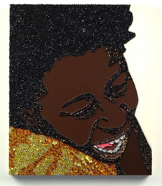 This is an artwork titled Portrait of Wrestler #7 (Brawlin' Spitfire Two) by artist Mickalene Thomas made in 2007