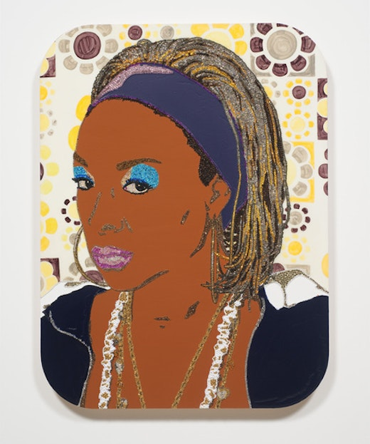 This is an artwork titled Portrait of Lady Blue #2 by artist Mickalene Thomas made in 2010