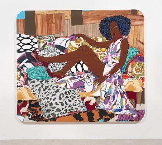 This is an artwork titled I'm Not the Woman You Think I Am by artist Mickalene Thomas made in 2010