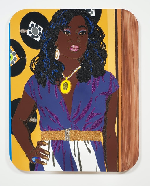 This is an artwork titled Portrait of Qusuquzah #3 by artist Mickalene Thomas made in 2010
