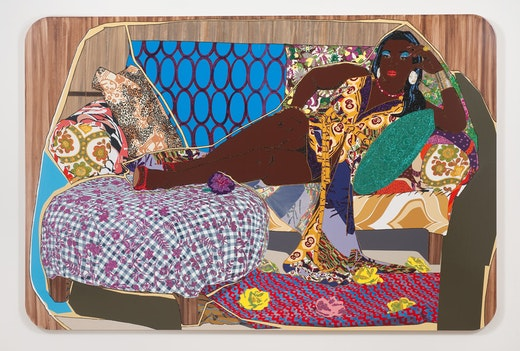 This is an artwork titled You're Gonna Give Me the Love I Need by artist Mickalene Thomas made in 2010
