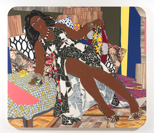 This is an artwork titled She Ain't A Child No More by artist Mickalene Thomas made in 2010
