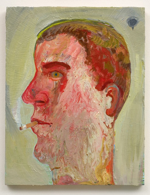 This is an artwork titled Portrait of Guy Smoking by artist Nicole Eisenman made in 2007