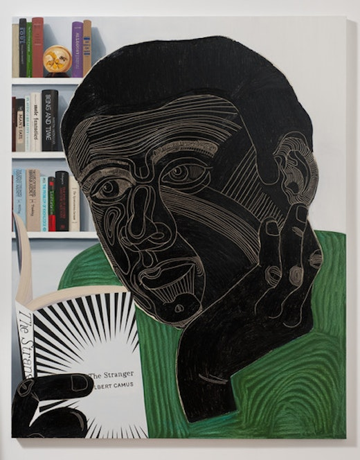 This is an artwork titled Guy Reading The Stranger by artist Nicole Eisenman made in 2011