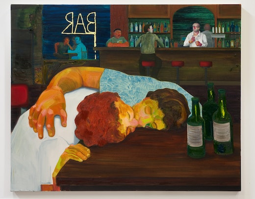 This is an artwork titled Sloppy Bar Room Kiss by artist Nicole Eisenman made in 2011