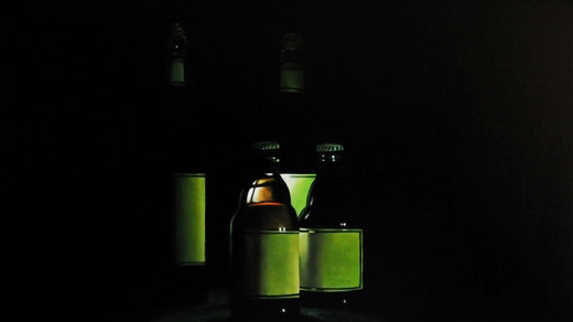 This is an artwork titled Four Green Bottles by artist Robert Olsen made in 2008