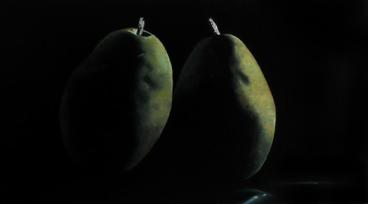 This is an artwork titled Two Pears from the Glendale Farmer's Market by artist Robert Olsen made in 2009