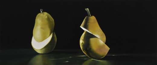 This is an artwork titled Double Ellipse, Bartlett and Anjou Pear by artist Robert Olsen made in 2009
