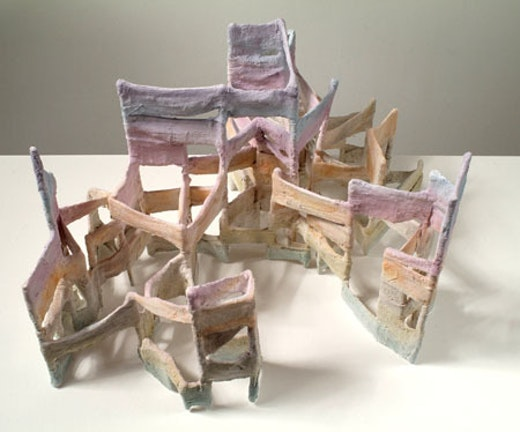 This is an artwork titled turning music into mountains by artist Steve Roden made in 2007