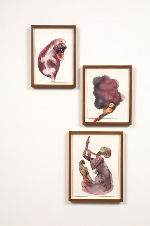 This is an artwork titled Hung man screams by artist Wangechi Mutu made in 2008