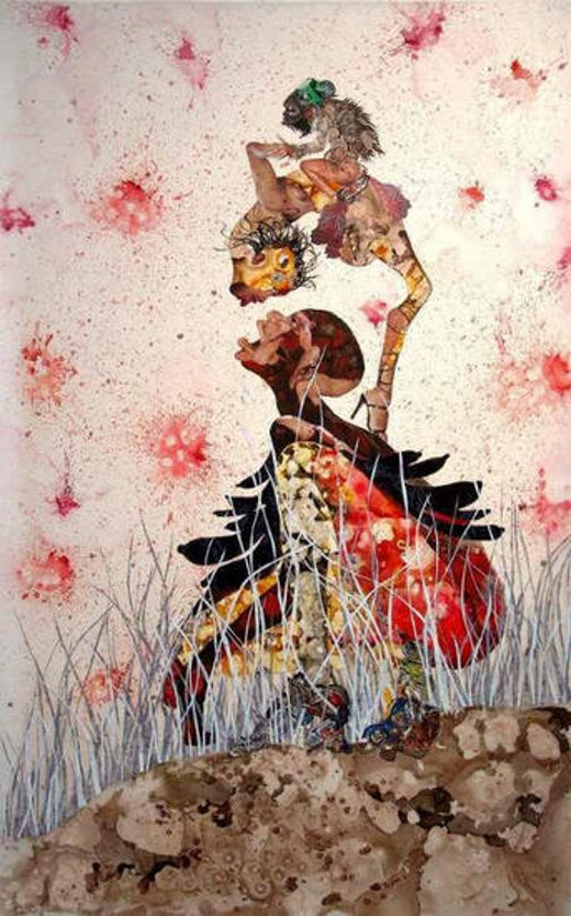This is an artwork titled Misguided Little Unforgivable Hierarchies by artist Wangechi Mutu made in 2005