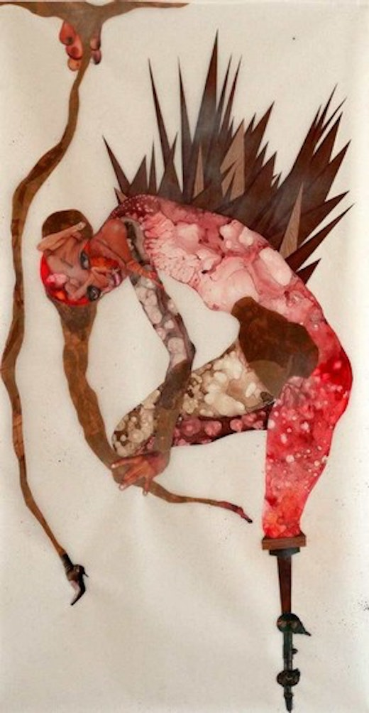 This is an artwork titled The Naughty Fruits of My Evil Labor by artist Wangechi Mutu made in 2005