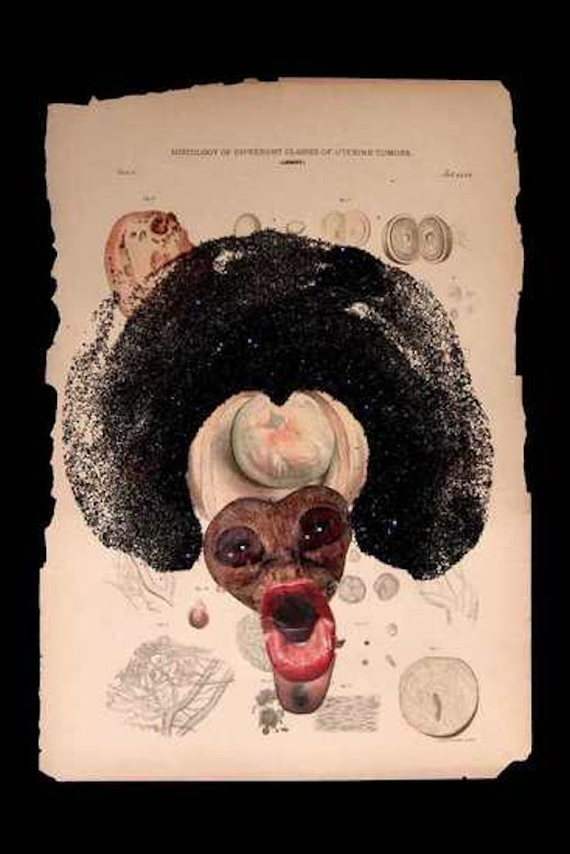 This is an artwork titled Ectopic Pregnancy by artist Wangechi Mutu made in 2005