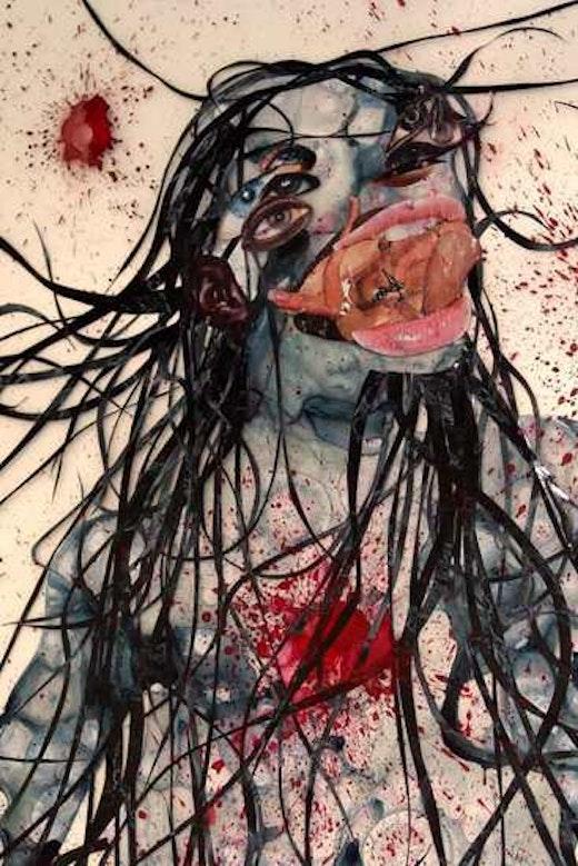 This is an artwork titled Royal Blue Arachnid Curse by artist Wangechi Mutu made in 2005