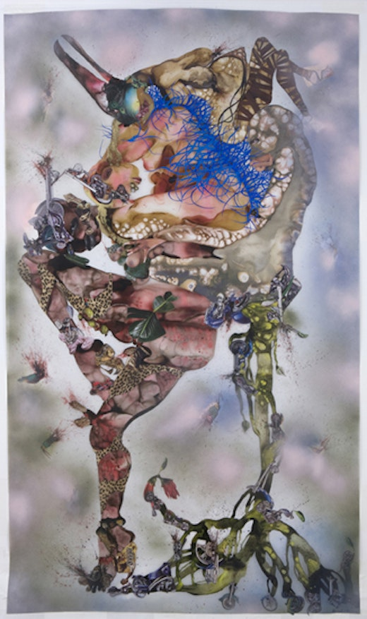 This is an artwork titled This you call Civilization? by artist Wangechi Mutu made in 2008