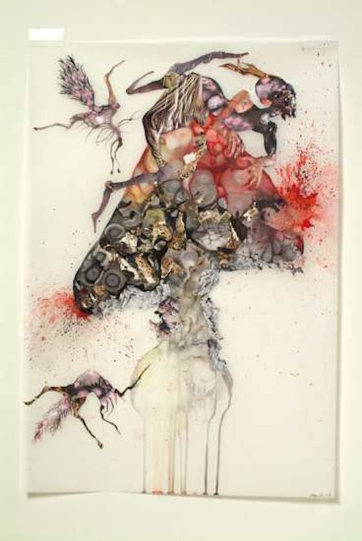 This is an artwork titled Howl by artist Wangechi Mutu made in 2006