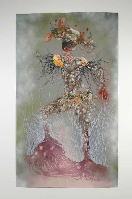 This is an artwork titled Me carry my head on my home on my head by artist Wangechi Mutu made in 2005